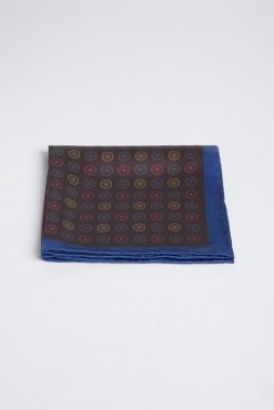 PS150011_NAVY CONTRAST BOARDER_TWEED RUN_POCKET SQUARE_SILK_PRINT_KLOFFMAN_A