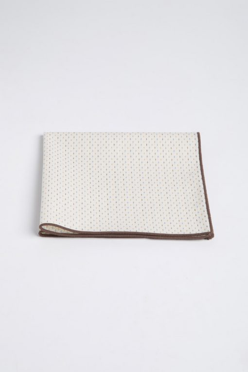 PS150014_BEIGE WITH BROWN BROADER_POCKET SQUARE_COTTON_STITCHES_KLOFFMAN_A
