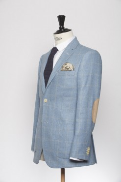 BL150011_LIGHT BLUE_WINDOW PANE CHECK_BLAZER_SILK WOOL_GRANT_KLOFFMAN_B