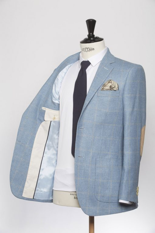 BL150011_LIGHT BLUE_WINDOW PANE CHECK_BLAZER_SILK WOOL_GRANT_KLOFFMAN_C