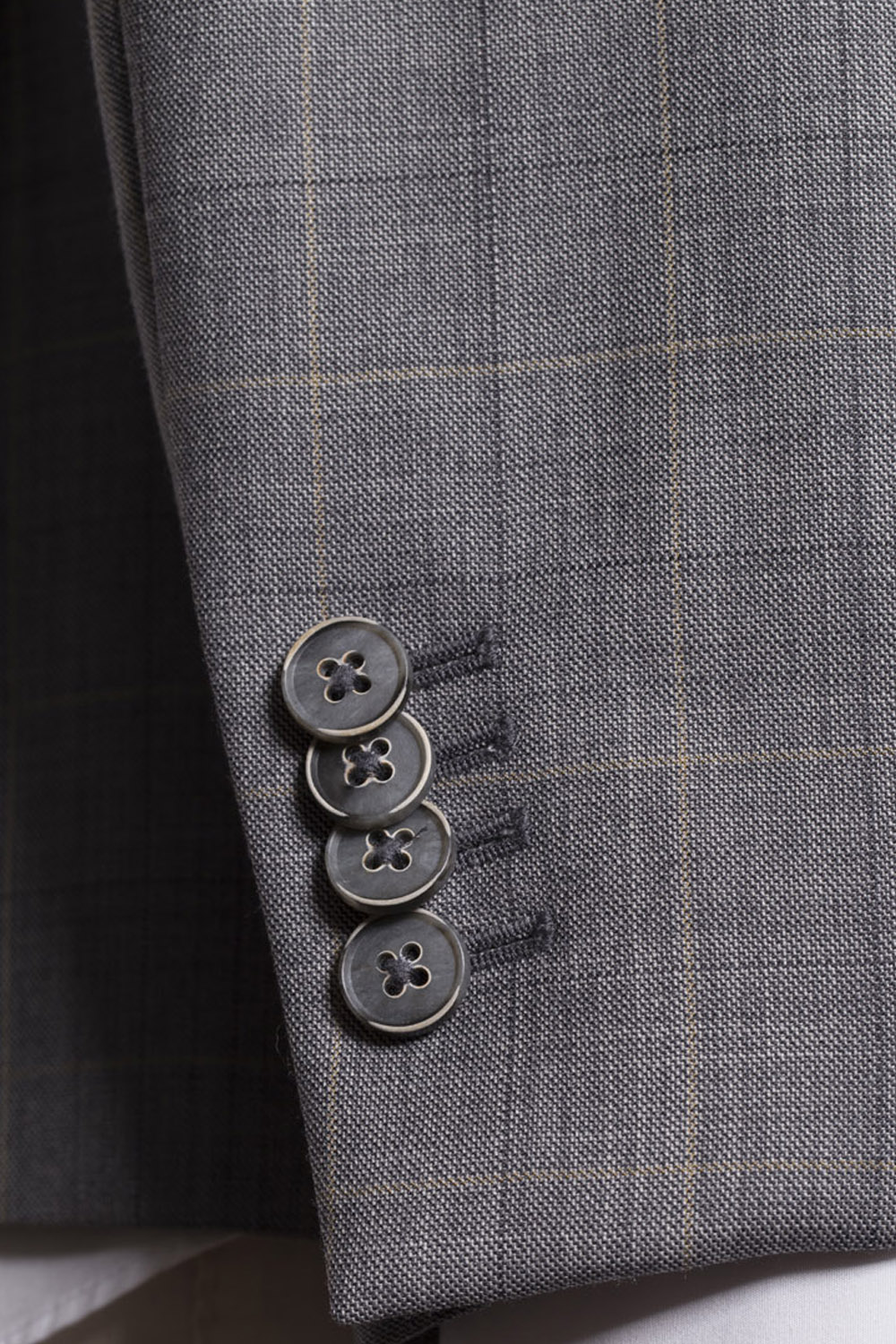 Grey Windowpane Check Double Breasted Suit