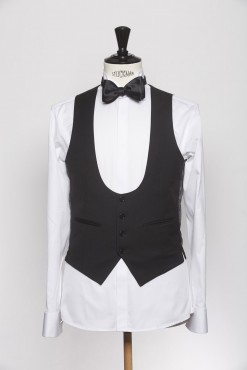 WC140001_BLACK_SOLID_WAISTCOAT_WOOL_CEREMONY_SINGAL BREAST U_KLOFFMAN_A