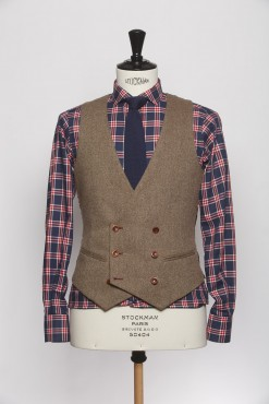 WC140003_BROWN_SOLID_WAISTCOAT_WOOL_DOUBLE BREAST V_KLOFFMAN_A