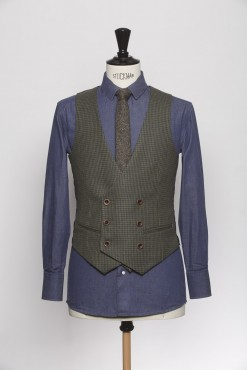 WC140004_DARK GREEN_HOUND TOOTH_WAISTCOAT_WOOL_DOUBLE BREAST V_KLOFFMAN_A