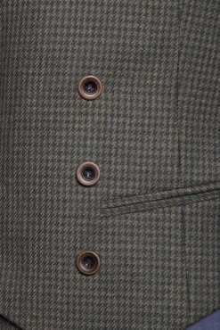 WC140004_DARK GREEN_HOUND TOOTH_WAISTCOAT_WOOL_DOUBLE BREAST V_KLOFFMAN_B