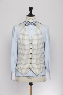 WC150005_CREAM_WINDOW PANE CHECK_WAISTCOAT_WOOL_SINGAL BREAST V_KLOFFMAN_A