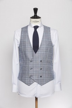 WC150007_BLUE_TARTAN CHECK_WAISTCOAT_WOOL_DOUBLE BREAST V_KLOFFMAN_A
