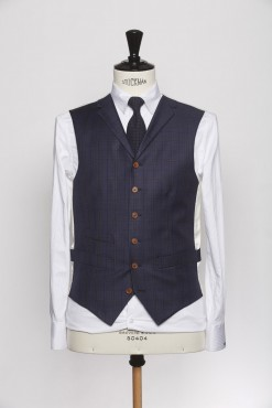 WC150008_NAVY_TARTAN CHECK_WAISTCOAT_WOOL_SINGAL BREAST V_KLOFFMAN_A