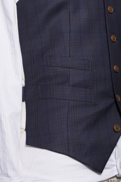 WC150008_NAVY_TARTAN CHECK_WAISTCOAT_WOOL_SINGAL BREAST V_KLOFFMAN_D