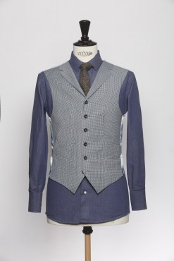WC150009_WHITE BLUE_HOUND TOOTH_WAISTCOAT_WOOL_SINGAL BREAST V_KLOFFMAN_A