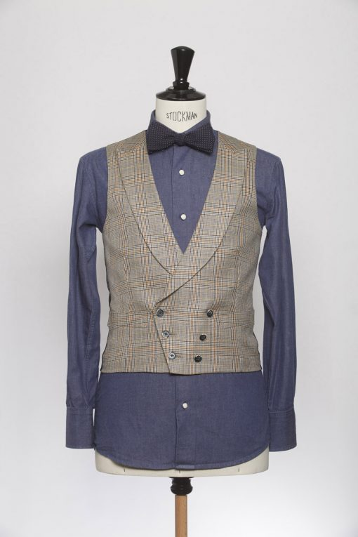 WC150010_LIGHT BROWN_PRINCE OF WALES_WAISTCOAT_WOOL_DOUBLE BREAST V_KLOFFMAN_A