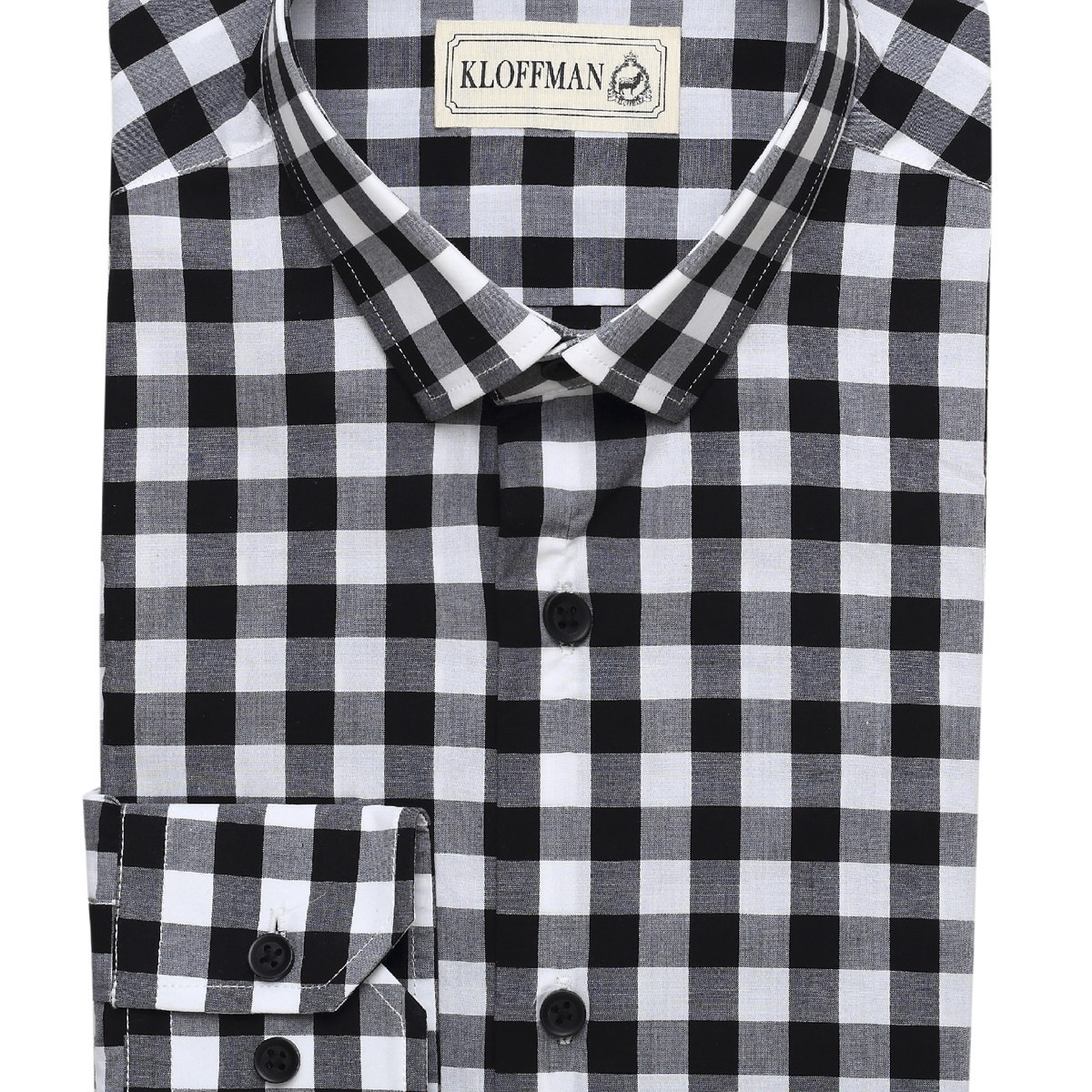 Sh140011 black gingham check casual shirt cotton regular for Made to measure casual shirts