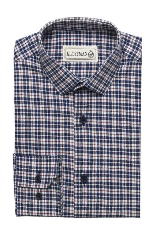 SH140016_NAVY_TARTAN CHECK_CASUAL SHIRT_COTTON_REGULAR FIT_KLOFFMAN_01